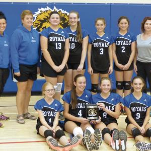 Three Hills School Junior A Girls Volleyball celebrate home tournament win