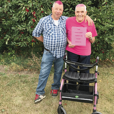 Pink-haired pals to walk for cancer