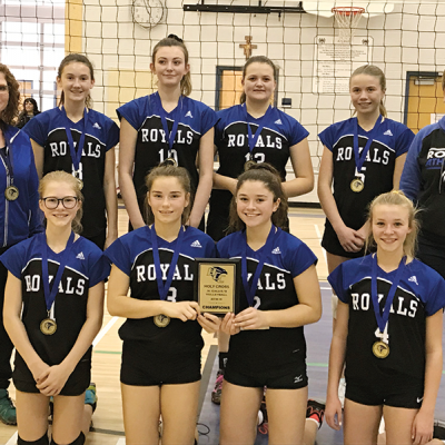 Three Hills School Jr. A Girls volleyball finish first at Holy Cross Collegiate tournament