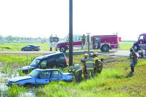 Major injuries avoided in hiway collision